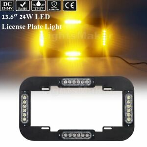 14 Led Warn Emergency Traffic Advisor Strobe License Plate Lights Amber Yellow