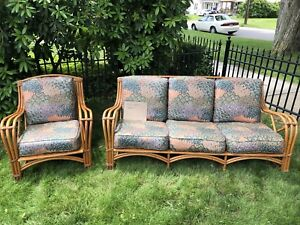 Antique Rattan Couch Chair With Cushions