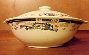 Antique Chinese Porcelain Blue White Dragon Bowl With Lid