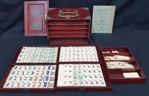 Vintage 1922 Mah Jong Complete Game Set 148 Tiles In Mahogany Brass Cabinet