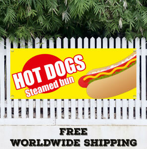 Banner Vinyl Hot Dogs Steamed Bun Advertising Flag Sign Chili Fast Food Burgers