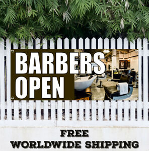 Banner Vinyl Barbers Open Advertising Sign Shaves Beauty Salon Woman Haircuts