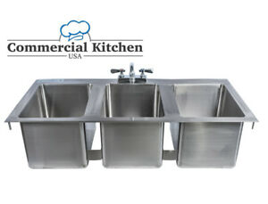 Stainless Steel 3 Compartment Drop in Sink 37 X 19 Nsf Certified With Faucet