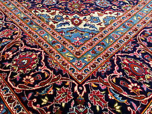 10x14 Antique Persian Rug Hand Knotted Red Blue Iran Woven Wool Made Area Rugs