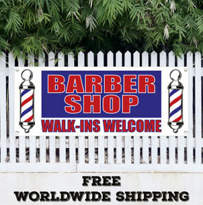 Barber Shop Walk ins Welcome Banner Vinyl Advertising Sign Flag Haircuts Salon