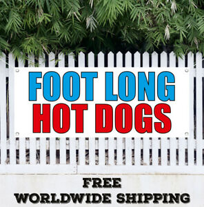 Banner Vinyl Foot Long Hot Dogs Advertising Flag Sign Chili Fast Food Burgers