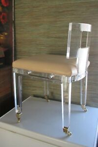 Vntg Lucite Boudoir Vanity Chair Fabulous Wheels Perfect Original Cushion