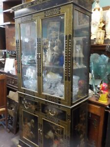 Mid Century Oriental Black Lacquered Gold Leaf China Cabinet W Painted Fig