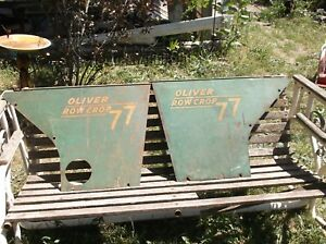 Oliver 77 Super 77 Row Crop Tractor Engine Side Panel Sheet Metal Shields Pair