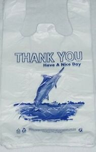 Biodegradable White Thank you T shirt Shopping Bags Handles 7 x5 x15 Lot 2000