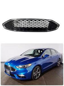 17 18 Ford Fusion Front Bumper Gloss Black Chrome Trim Honeycomb Grille Grill