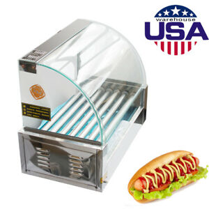 Commercial Houshold 7 Roller 18 Hot Dog Hotdog Grill Cooker Machine W Cover