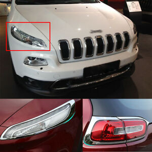 4 Abs Chrome Head Tail Light Cover Trim Accessory For Jeep Cherokee 2014 2018