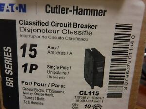 Lot Of 10 Eaton Cutler Hammer Cl115 Classified Circuit Breaker Cl 1p 15a 120