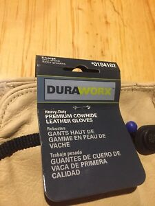 Duraworx Heavy duty Premium Cowhide Leather Work Gloves Extra Large Size