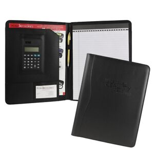 Black Business Leather Padfolio Portfolio Calculator Organizer Folder Resume
