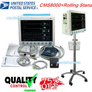 Portable Multi parameter Vital Signs Patient Monitor rolling Stand Icu ccu 2018