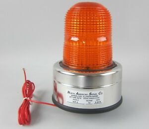 North American Signal Co Model Mip a 12 Volt Orange Beacon Light