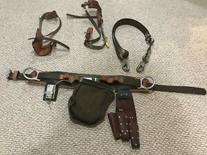Klein Buhrke Burgess Pole Lineman Tree Climbing Spikes Belt Strap Equipment