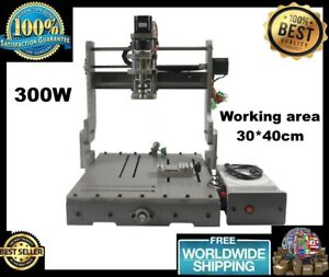300w Cnc 3040 3 Axis Router Machine Cutting Mini Lathe Dc Spindle 110v 220v