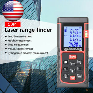 Digital Lcd Laser Distance Meter 60m 196ft Laser Tape Measure Tool Range Finder