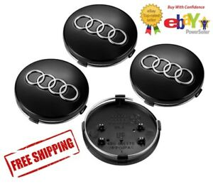 4x Audi Wheel Center Caps Gloss Black 60mm A3 A4 A6 A8 S4 Tt Q7 S4 S6 S8 More