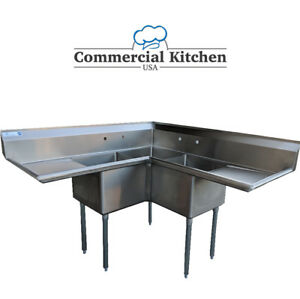 Commercial 3 Compartment Stainless Steel Corner Sink 57 X 57 Nsf Certified