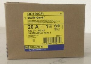 Brand New Circuit Breaker Square D Qo120gfic 20 Amp 1 Pole 120v
