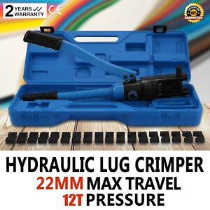 12 Ton Hydraulic Wire Terminal Crimper W dies Cable Wire Battery Good Newest