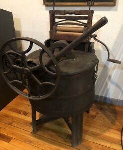Antique Hand Operated Washing Machine Anchor Brand Large Gears Steampunk 1800s