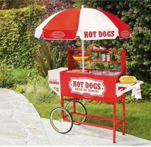 Nostalgia Vintage Collection Carnival Hot Dog Cart With Umbrella