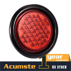 4 Round Led Side Marker Stop Turn Tail Light Signal Clearance Lights Kits 40led