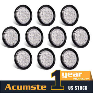10x 12led White 4 Inch Round Side Marker Lights Truck Trailer Tail Warning Lamp