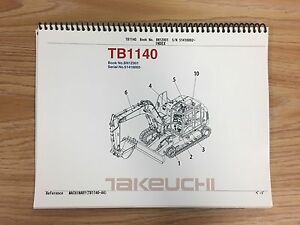 Takeuchi Tb1140 Parts Manual S n 51410002 And Up Free Priority Shipping