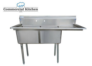 Stainless Steel 2 Compartment Sink 56 5 X 24 With Right Drainboard Nsf Cert