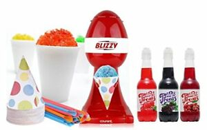 Blizzy Snow Cone Maker Set With Syrup Flavors Machine Cones Shaved Ice Tabletop