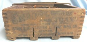 Antique Star Egg Carrier Wooden Dove Tail Crate Tray Cardboard Dividers