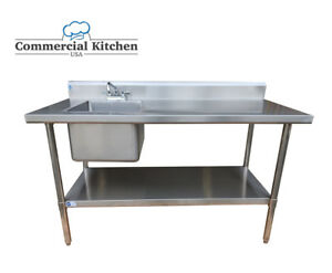 Stainless Steel Work Prep Table 30 X 60 With Sink On Left With Faucet