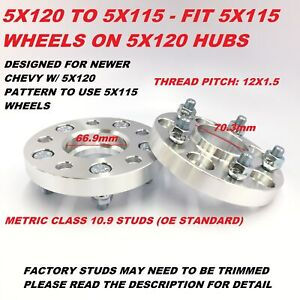 2pc 5x120 To 5x115 5x4 75 To 5x115 Hubcentric Wheel Adapters 1 Inch Thick