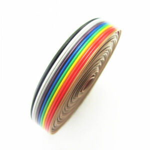 5m 10 Pin Way Flat Color Rainbow Ribbon Idc Cable Wire For Arduino Diy