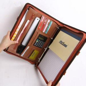 Leather Office Manager Document Bag Files Folder Cards Papers Storage Briefcase