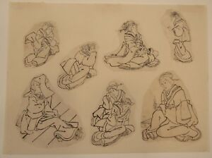 C 1850 7 Original Japanese Ink Drawings Sketches Studies Of Geishas 10x13 5