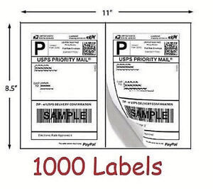1000 Shipping Labels 500 Sheets Blank White Self Adhesive Round Corner Usps Ebay