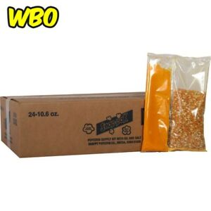 Yellow Popcorn Supplies 10 6 Oz Oil And Seasoning Kit 8 Oz Poppers 24 Pack New