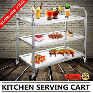 Kitchen Stainless Steel Serving Cart Rolling Utility Dolly Food Prep Popular