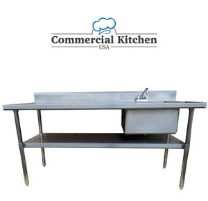 Stainless Steel Work Prep Table 30 x72 W Sink On Right W Faucet Nsf Certified