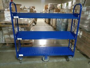 Steel Cart With Three Shelves Tubular Frame 62 In L X 61 In H X 16 In D
