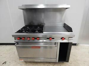 Vulcan 48 Gas Range 4 burner 24 Griddle Std Oven 481fl