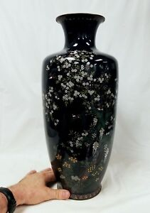 Huge Fine Antique Japanese Cloisonne Vase Attributed To Ota 18 46 Cm Height