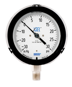 Wika 213 34 4 5 Process Pressure Gauge Liquid filled Brass 30 Hg 0 15 Psi